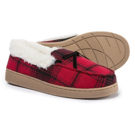 Comfy by Daniel Green Mabel Moccasins (For Women) in Red Plaid
