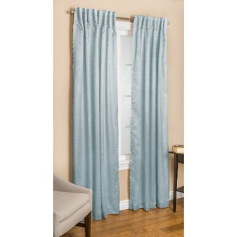 "Commonwealth Home Fashions Bellary Curtains - 84"", Faux Silk, Back Tab or Pole Top, Lined in Blue"