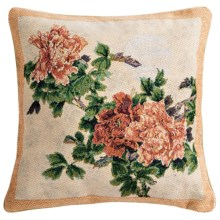 "Commonwealth Home Fashions Floral Tapestry Decorative Pillow - 15x15"" in Begonia - Closeouts"