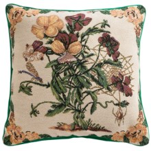 "Commonwealth Home Fashions Floral Tapestry Decorative Pillow - 15x15"" in Bouquet With Dragonfly - Closeouts"