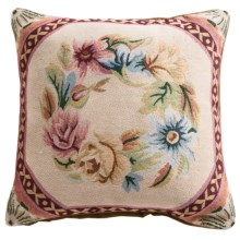 "Commonwealth Home Fashions Floral Tapestry Decorative Pillow - 15x15"" in Floral Wreath - Closeouts"