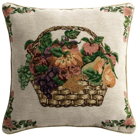 """Commonwealth Home Fashions Floral Tapestry Decorative Pillow - 15x15"""" in Fruit Basket"""