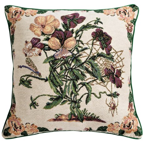 """Commonwealth Home Fashions Floral Tapestry Decorative Pillow - 15x15"""" in Pansies"""