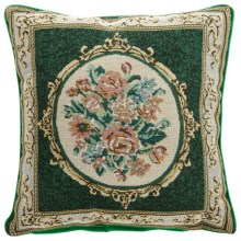 "Commonwealth Home Fashions Floral Tapestry Decorative Pillow - 15x15"" in Round Bouquet Green - Closeouts"
