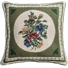 "Commonwealth Home Fashions Floral Tapestry Decorative Pillow - 15x15"" in Round Bouquet - Closeouts"