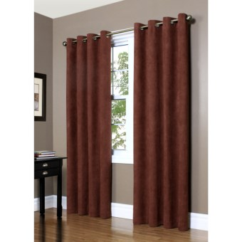 "Commonwealth Home Fashions Garbo Herringbone Curtains - 63"", Grommet-Top in Sienna"