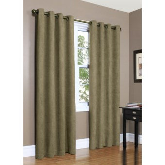 "Commonwealth Home Fashions Garbo Herringbone Curtains - 84"", Grommet-Top in Sage"