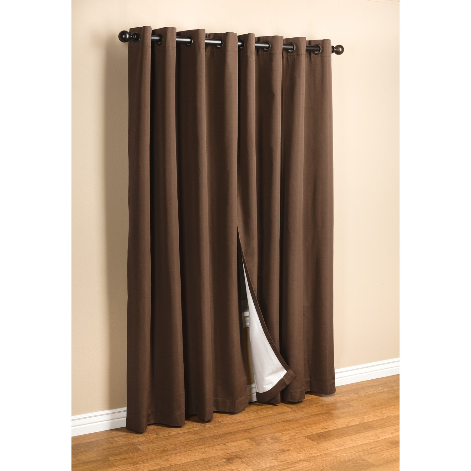 Solid Grommet Top Thermal Insulated Blackout Curtain 84 Length 1 Pair Bed Mattress Sale