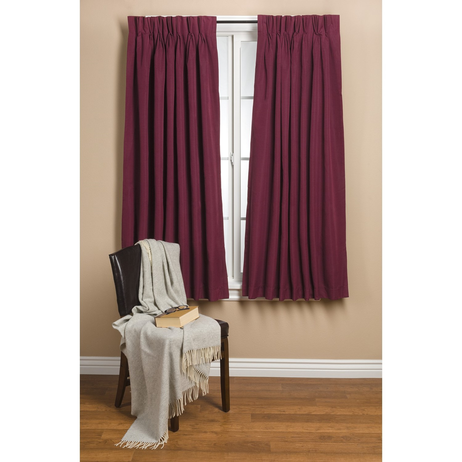 Commonwealth Home Fashions Hotel Chic Blackout Curtains 96x84 Pinch Pleat In Burgundy