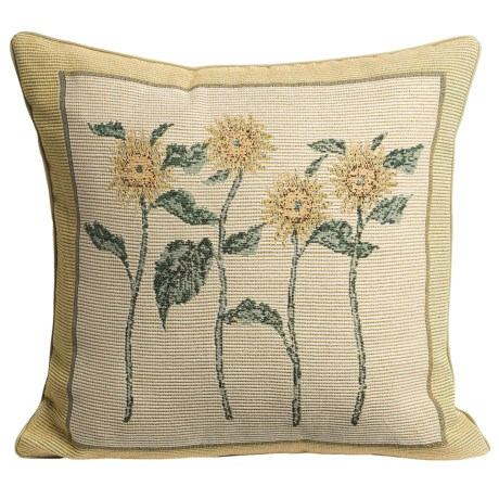 "Commonwealth Home Fashions Kitchen Tapestry Decor Pillow - 15x15"" in Sunflower"