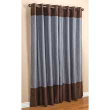 "Commonwealth Home Fashions Sabrina Banded Curtains - 84"", Grommet-Top, Faux Silk in Blue/Chocolate - Closeouts"