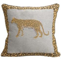 "Commonwealth Home Fashions Safari Tapestry Decorative Pillow - 15x15"" in Leopard"