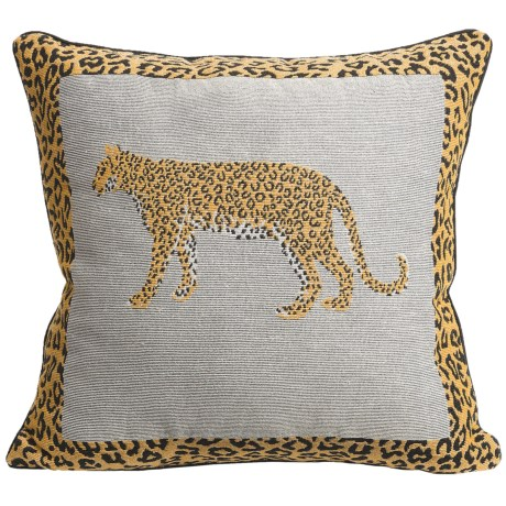 "Commonwealth Home Fashions Safari Tapestry Decorative Pillow - 15x15"" in Leopard"