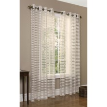 "Commonwealth Home Fashions Sheer Horizontal Stripe Curtains - 84"", Grommet Top in Ivory - Closeouts"