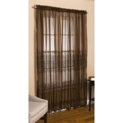 """Commonwealth Home Fashions St. James Sheer Curtains - 100x95"""", Pole-Top in Chocolate"""
