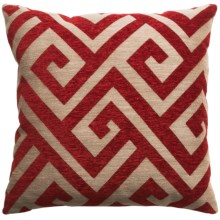 "Commonwealth Jacquard Throw Pillow - 18x18"" in Red Greek Key - Closeouts"