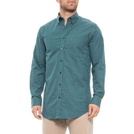 Image of Compact Twill Gingham Golf Shirt - Long Sleeve (For Men)