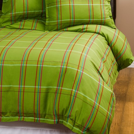 Company C Autumn Plaid Duvet Cover - Full-Queen, 200 TC Cotton Percale in Clover