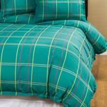 Company C Autumn Plaid Duvet Cover - Full-Queen, 200 TC Cotton Percale in Peacock - Closeouts