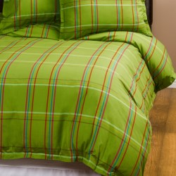 Company C Autumn Plaid Duvet Cover - King, 200 TC Cotton Percale in Clover