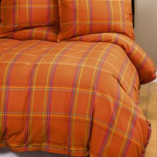 Company C Autumn Plaid Duvet Cover - King, 200 TC Cotton Percale in Orange Spice - Closeouts