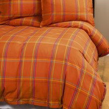 Company C Autumn Plaid Duvet Cover - Twin, 200 TC Cotton Percale in Orange Spice - Closeouts