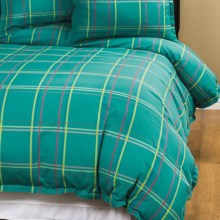 Company C Autumn Plaid Duvet Cover - Twin, 200 TC Cotton Percale in Peacock - Closeouts