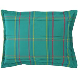 Company C Autumn Plaid Pillow Sham - King, 200 TC Cotton Percale in Peacock