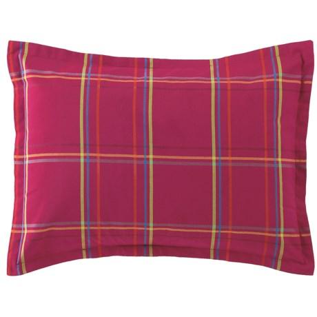 Company C Autumn Plaid Pillow Sham - King, 200 TC Cotton Percale in Wine