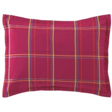 Company C Autumn Plaid Pillow Sham - Standard, 200 TC Cotton Percale in Wine - Closeouts