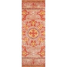 "Company C Patterned Floor Runner - 2'6""x8', Tufted Wool in Oasis Red - Closeouts"