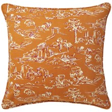 "Company C Village Toile Cotton Decor Pillow - Down, 22x22"" in Pumpkin - Closeouts"