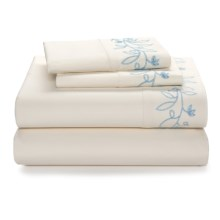 Company C Vinca Sheet Set - Full, 200 TC Cotton Percale in Ice Blue - Closeouts