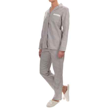 Company Ellen Tracy Classic Flannel Pajamas - Long Sleeve (For Women) in Grey Ivory Stripe - Closeouts
