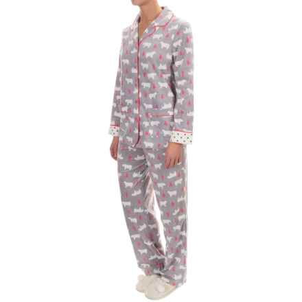 Company Ellen Tracy Classic Microfleece Pajamas - Long Sleeve (For Women) in Charcoal Bears - Closeouts