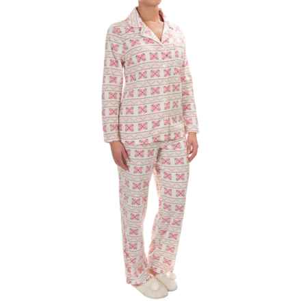 Company Ellen Tracy Classic Microfleece Pajamas - Long Sleeve (For Women) in Peach Snowflake Fairisle - Closeouts