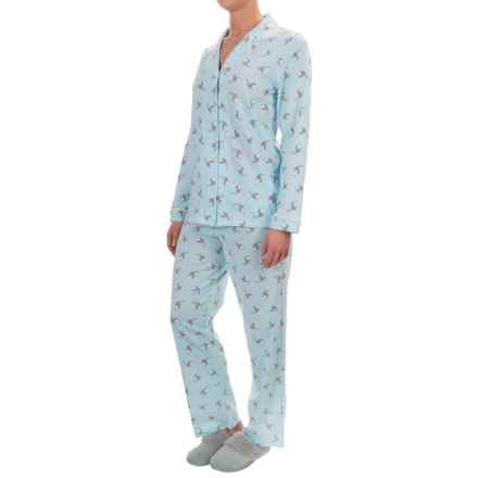 Company Ellen Tracy Classic Pajamas - Long Sleeve (For Women) in Aqua Print - Closeouts