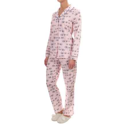 Company Ellen Tracy Classic Pajamas - Long Sleeve (For Women) in Pink Novelty - Closeouts