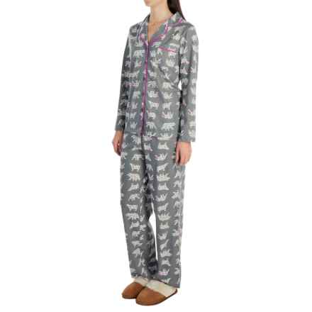 Company Ellen Tracy Classic Peached-Jersey Pajamas - Long Sleeve (For Women) in Charcoal/Fuschia Polar Bears - Closeouts
