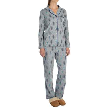 Company Ellen Tracy Classic Peached-Jersey Pajamas - Long Sleeve (For Women) in Grey Heather/Blue Trees - Closeouts