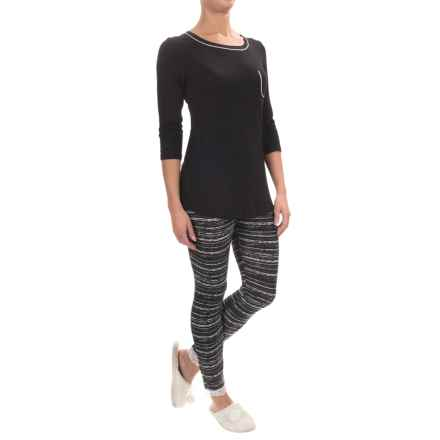 Company Ellen Tracy Stretch Rayon Pajamas - Long Sleeve (For Women) in Black Dot - Closeouts