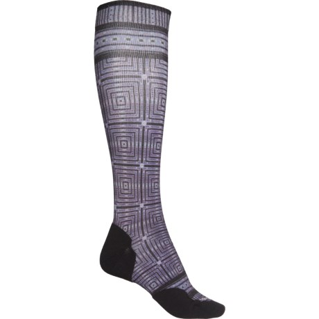 Compression Cruise Director Print Socks - Merino Wool, Over the Calf (For Women) - CHARCOAL (S ) -  SmartWool