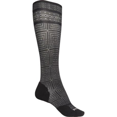 Compression Cruise Director Print Socks - Merino Wool, Over the Calf (For Women) - MEDIUM GRAY (S ) -  SmartWool