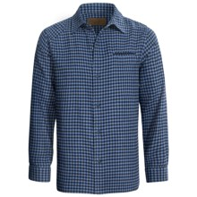 Comstock & Co. Mini Check Shirt - Flannel, Long Sleeve (For Men) in Blue Heather - Closeouts