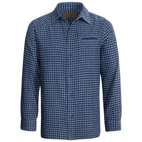 Comstock & Co. Mini Check Shirt - Flannel, Long Sleeve (For Men) in Blue Heather