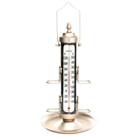 "Conant Bird Feeder with Thermometer and Tray - 18"" in Satin Nickel - Overstock"