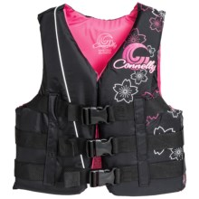 Connelly 3-Buckle Nylon PFD Life Jacket - Type III, USCG Approved (For Women) in Black/Pink/White - Closeouts
