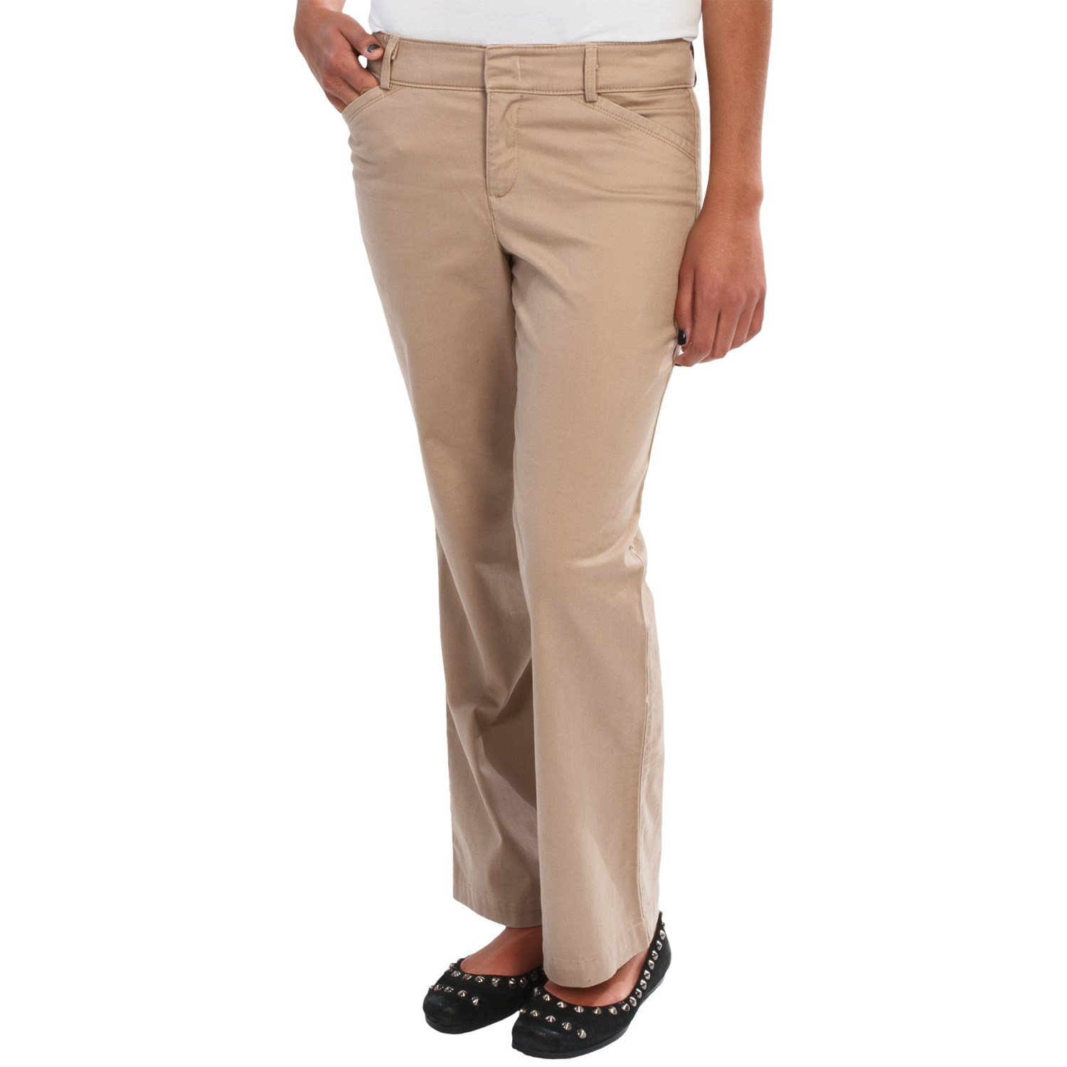 Simple Straight Leg Pants  Stretch Cotton For Women