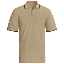 Contrast Collar Polo Shirt - Short Sleeve (For Men) in Tan/Dark Navy - 2nds