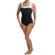 Contrast Trim Square Neck Swimsuit (For Women) in Black/White - 2nds